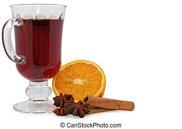 Christmas hot wine with oranges