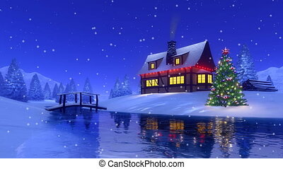 Christmas house at snowy fir forest Cinemagraph