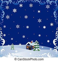 Christmas house - Christmas card with a house, fir and...