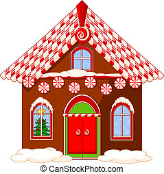 Christmas house - Christmas house made of gingerbread, cream...