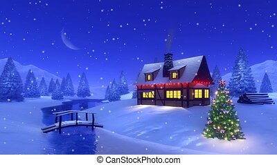 Christmas house high in mountains Cinemagraph