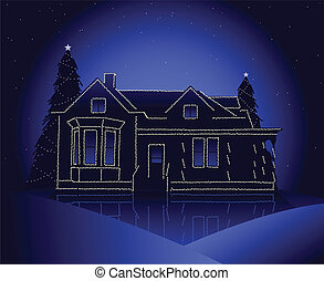 Christmas house - House decorated with christmas lights in a...