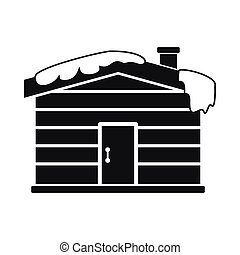 Christmas house icon, black simple style