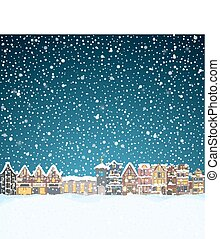 Christmas house in snowfall at the night. Happy holiday...