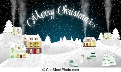 Christmas house on a background of winter night. Flat style. Little cottage. Merry Christmas footage