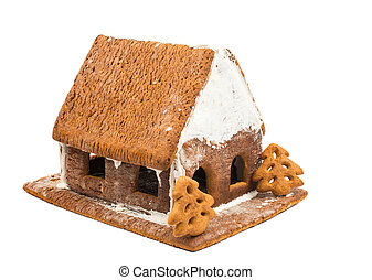Christmas house on a white background