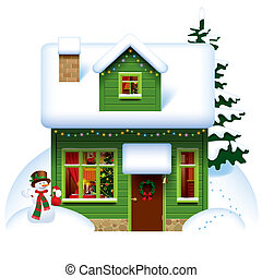 Christmas house - Raster version of vector image of the...
