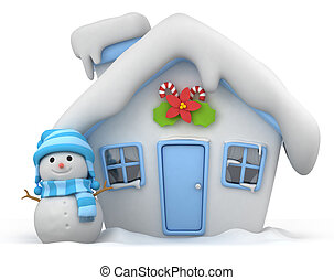 Christmas House - 3D Illustration of a House with a...