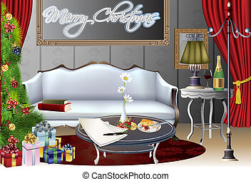 christmas house vector - Vector illustration of a cozy...
