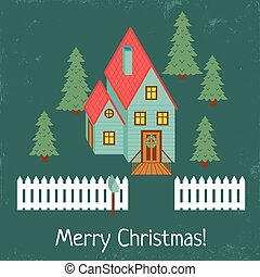 christmas house - vector illustration of a vintage style...