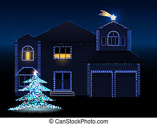 christmas house - vector illustration of decorated house...