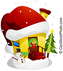 Christmas House with Clipping Path