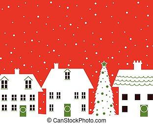 Christmas houses and snow design