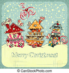 Christmas houses and snow - postcard in retro style - vector...