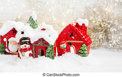 Christmas Houses in the Snow