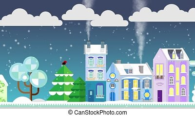 Christmas houses on snowly street on a background of winter night. Flat style. Little cottage. Merry Christmas footage
