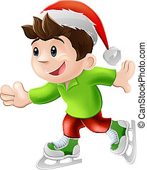 Christmas ice skater - Cartoon illustration of a happy young...