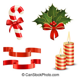 Christmas icon set. Candy Cane, Christmas Holly, Ribbons and Candles