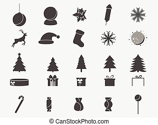 Christmas icon set. Collection of holiday symbols. Vector illustration