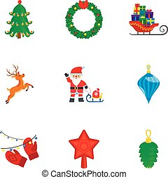 Christmas icon set, flat style