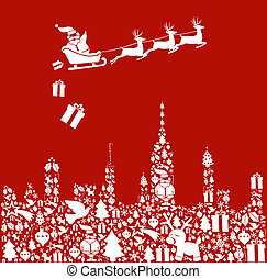 Christmas icon set in city shape with Santa - Christmas icon...