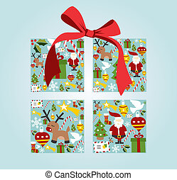 Christmas icon set in gift box shape