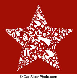 Christmas icon set in star shape postcard background. Vector...