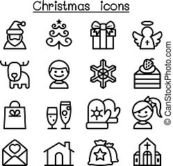 Christmas icon set in thin line style