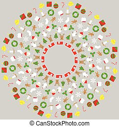 Christmas icon set pattern circle shape isolated on grey color background, with copy space center