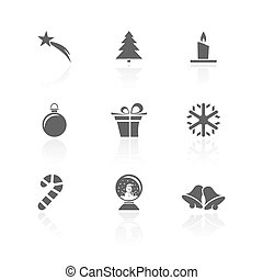 Christmas icon set with reflection on a white background