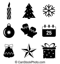 Christmas icon vector isolated on white