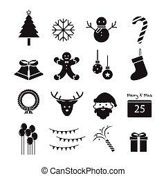 Christmas icon, vector set