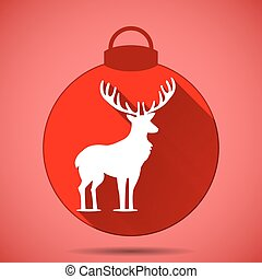 Christmas icon with the silhouette of a deer on pink background
