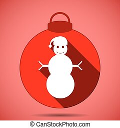 Christmas icon with the silhouette of a snowman in hat on pink background