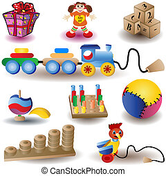christmas icons 2 - toys - Vector illustration of nine...