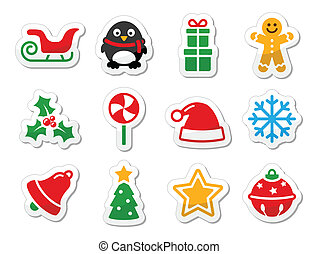 Christmas icons as colourful labels