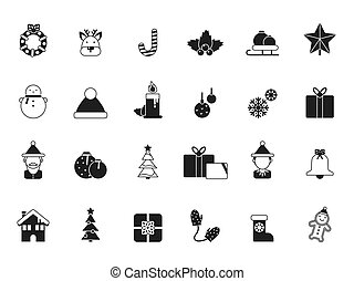 Christmas icons. Bells and santa, elf and celebration gifts, green tree and candied december winter season items and vector symbols