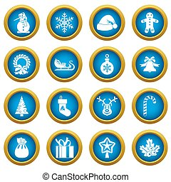 Christmas icons blue circle set
