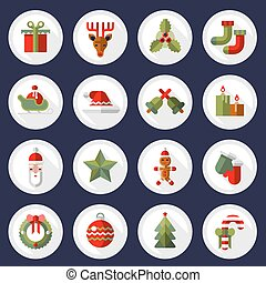 Christmas icons buttons set - Christmas new year buttons...