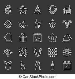 Christmas Icons - Christmas line icons set, vector eps10...