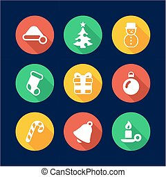 Christmas Icons Flat Design Circle
