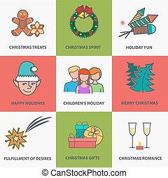 Christmas icons flat