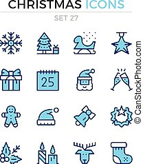 Christmas icons. Holidays concept. Vector line icons set. Premium quality. Simple thin line design. Modern outline symbols, pictograms