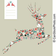 Christmas icons in jumping deer