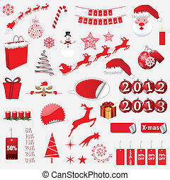 Christmas Icons isolated on white