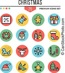 Christmas icons. Modern thin line icons set. Premium quality. Outline symbols, graphic elements, concepts, flat line icons. Creative vector illustration