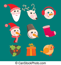 christmas icons objects collection