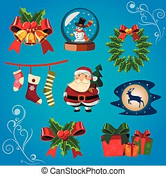 Christmas Icons Objects Collection.