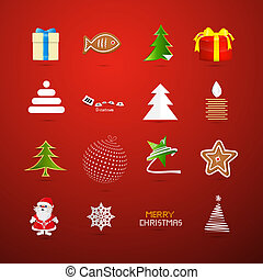 Christmas Icons on Red Background