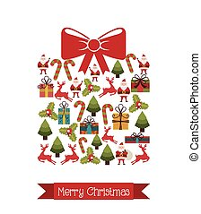 christmas icons over gift big background vector illustration...
